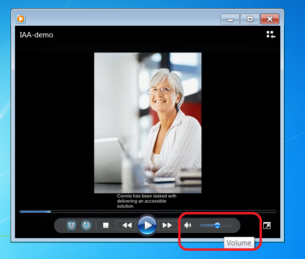 Windows Media player with Audio control highlighted