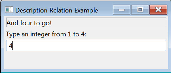 A Dialog titled Description Relation Example showing a relationship between an edit field that has the value of 4 entered into it and it's live region label