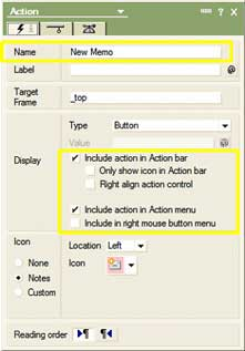 Notes action button