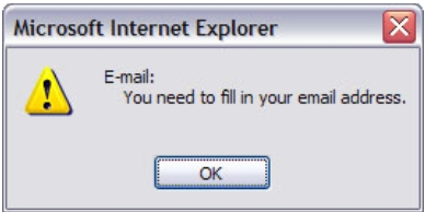 Alert box with message: E-mail, you need to fill in your email address.