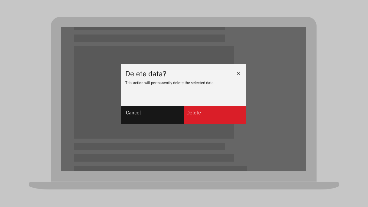 modal dialog titled 'delete data?' followed by text 'this action will permanently delete the selected data' with cancel button and delete button