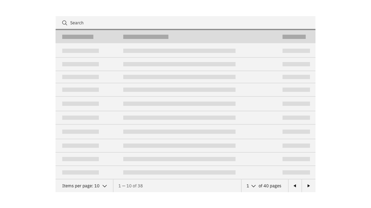 data table with search bar on top and pagination bar on bottom