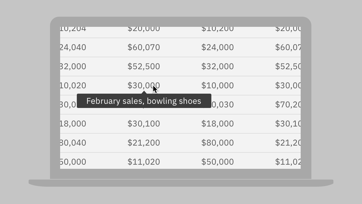 cursor hovering over a numeric cell on a magnified data table with tooltip content 'february sales, bowling shoes'