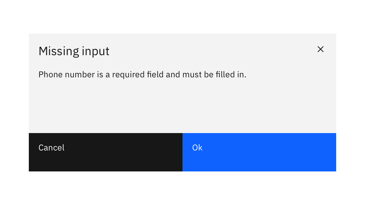 a modal dialog titled 'Missing input' with text 'Phone number is a required field and must be filled in'