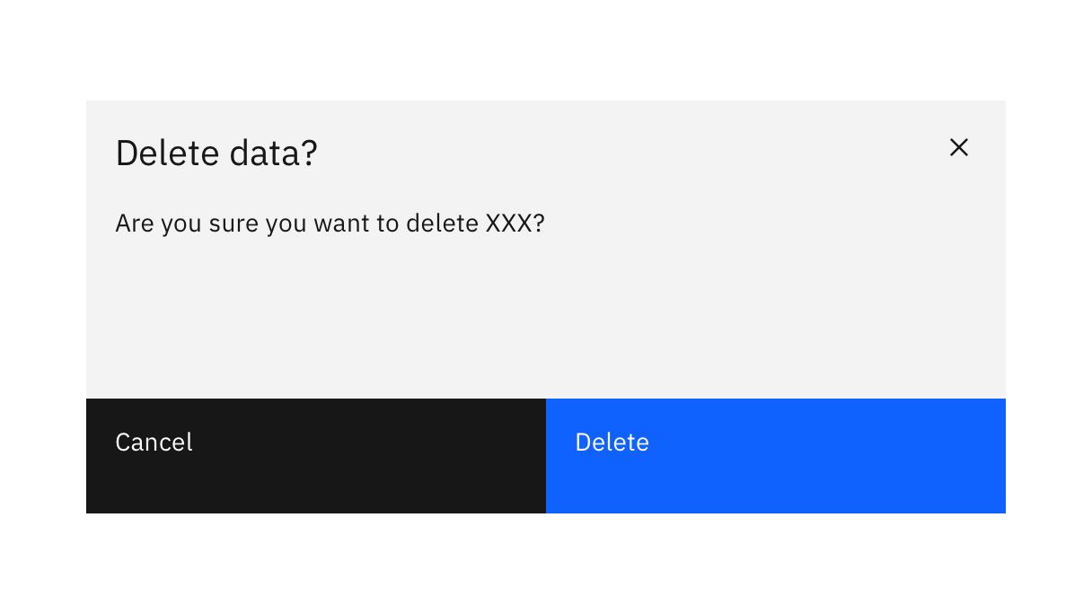 modal dialog titled 'delete data?' followed by text 'are you sure you want to delete XXX?' with cancel and delete buttons