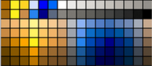 Color palette through the eyes of someone with Deuteranopia, which doesn't allow users to distinguish between colors in the green–yellow–red section of the spectrum.