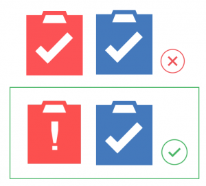 Shows the right and wrong way of changing the physical shape change of an icon. The first image is wrong showing two clipboards (one red and one blue) with a white checkmark in each. The correct image changes the checkmark in the red clipboard to an exclamation point.