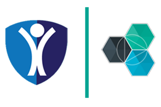 Two logos separated by a teal-colored line: On left a white stick figure inside of a blue shield. On right, the Bluemix logo, which is three hexagons connected (one black, one teal and one blue).