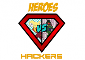 Barclays Heroes vs. Hackers logo. Diamond shaped logo cut in half with a cartoon woman super hero on the left and a man on the right with a red shield over his eyes.