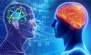 Two computerized images of people facing each other: Person on left has the IBM Watson logo in his brain. Person on right as a red brain.