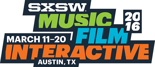 SXSW 2016 Logo: SXSW Music, Film, Interactive, Austin, TX, March 11-20, 2016