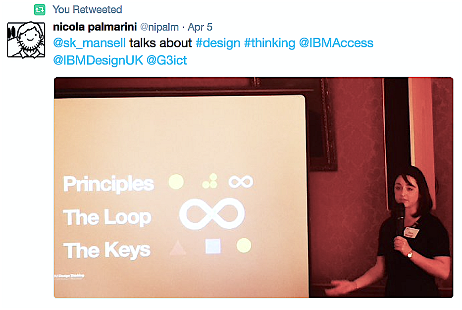 """Screen capture of a tweet with a photo of Sara Mansell presenting in front of a screen that says, """"Principles. The Loop. The Keys."""""""