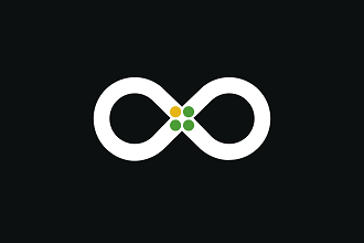 Graphic of a figure eight on its side with three green dots and one yellow dot in the middle.