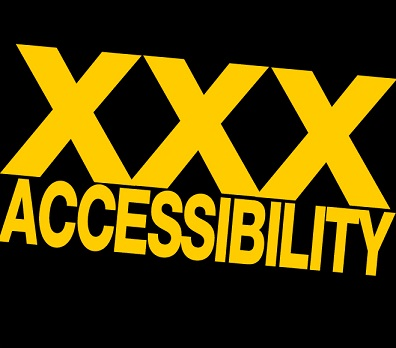 "Black background with yellow lettering that says, ""XXX Accessibility"""