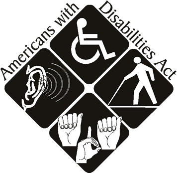 Americans with Disabilities Act logo. Four images shown: Ear, disabled icon (person in wheelchair), icon of person holding a cane, and three hands doing sign language.