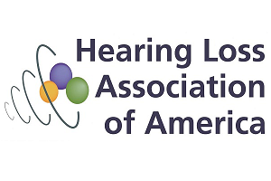 Hearing Loss Association of America logo. Three different colored balls inside of four concentric circles shaped in a cone.