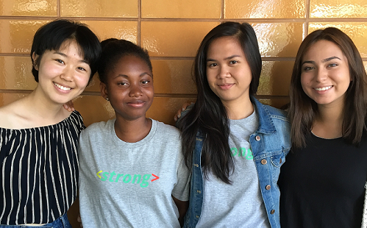 Group shot of the Girls Who Code team in Los Angeles who created the Elders Connect website, including Heewon Kim, Oumou Camara, Paula Sante and Elizabeth Paz.