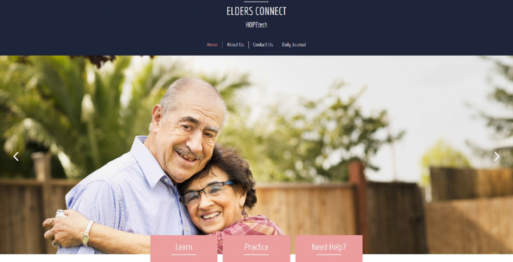 "Screen shot of the Elders Connect website. Photo of an elderly couple embracing with three tabs at the bottom: ""Learn,"" ""Practice"" and ""Need Help?"""