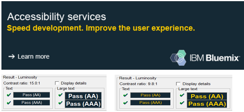 A screenshot from the IBM Accessibility website demonstrates good contrast as verified by Colour Contrast Analyser.