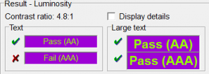 Screen shot of the Colour Contrast Analyser showing how light green and purple provide sufficient contrast.