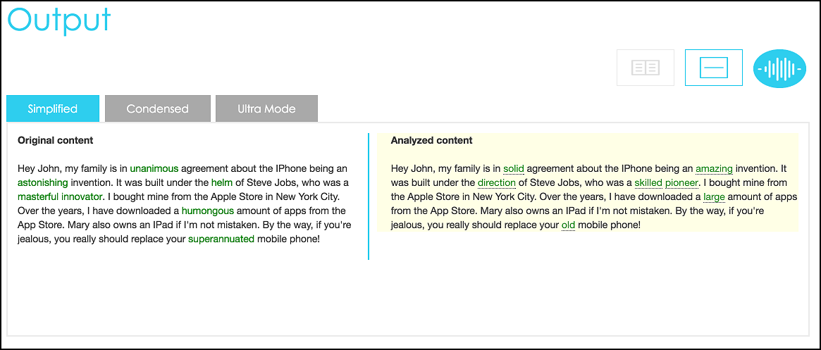 """Graphic displays the output of analyzing a sample of text. The analyzed content will replace complex words with simpler alternatives, such as replacing the word, """"unanimous"""" with """"sold,"""" and """"astonishing"""" with """"amazing."""""""