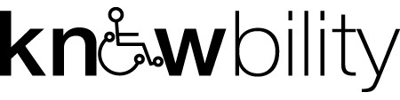"""Knowbility logo. Knowbility is spelled out with the """"o"""" replaced by a person in a wheelchair."""