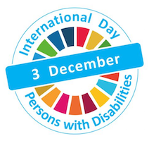 Logo for International Day of Persons with Disabilities. Inside of a circle is a circle of different colors with December 3 written across the diameter of the circle.
