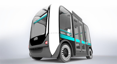 "Image of ""Olli"", a self-driving vehicle from Local Motors. Olli is a bus with many windows."