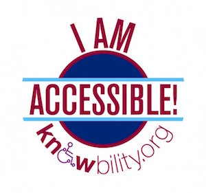 """Knowbility logo that says, """"I am accessible!"""" with knowbility.org underneath."""