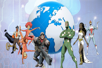 """Cartoon image of seven different fictional """"heroes"""" standing in front of the earth."""