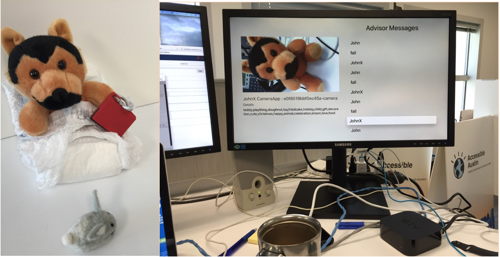 There are two images. On the left is a wolf stuffed animal wearing a diaper and an accelerometer. On the right is a computer monitor with a photo of the wolf and a list of everything being monitored.