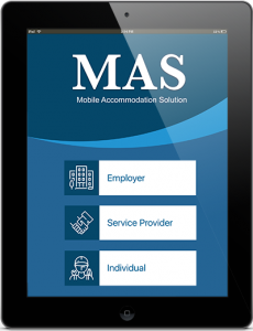 Mobile Accommodation Solution Splash screen on an IPAD