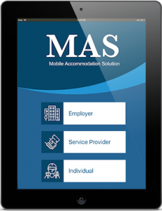 Image of the Mobile Accommodation Solution app home screen. As a user, you can click on one of three options: Employer, Service Provider or Individual.