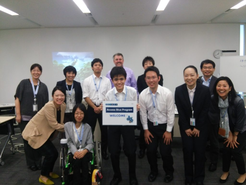 Students from IBM Japan's Access Blue program pose for a picture.
