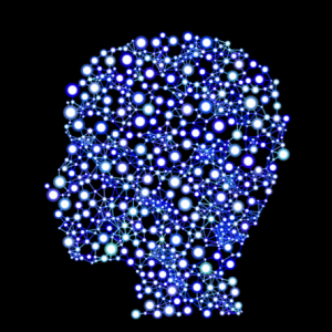 Silhouette image of head with a bunch of tiny lighted dots inside.