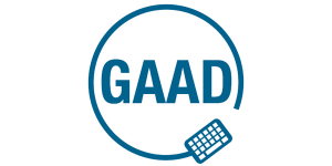 Global Accessibility Awareness Day logo. The letters GAAD inside of a keyboard chord with the keyboard on the bottom.