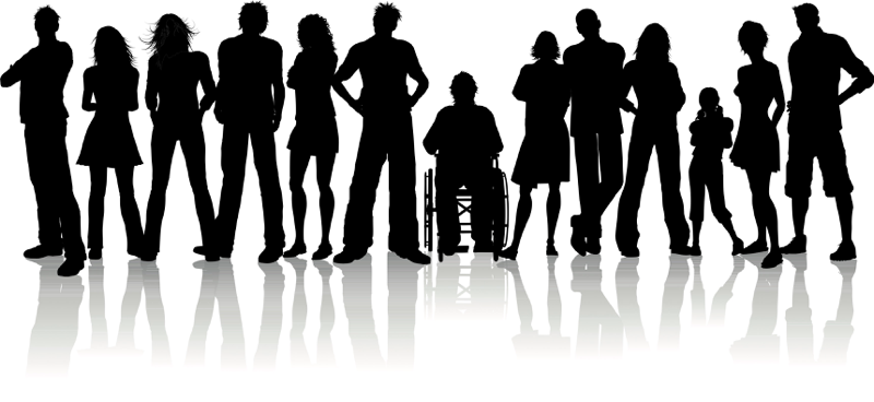 Silhouettes of thirteen people. The one in the middle is sitting in a wheelchair.