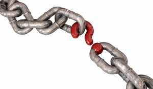 A worn chain with a question mark as one of its links on an isolated background; Shutterstock ID 117951226; PO: 123