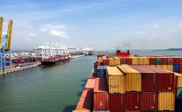 container yard and ship