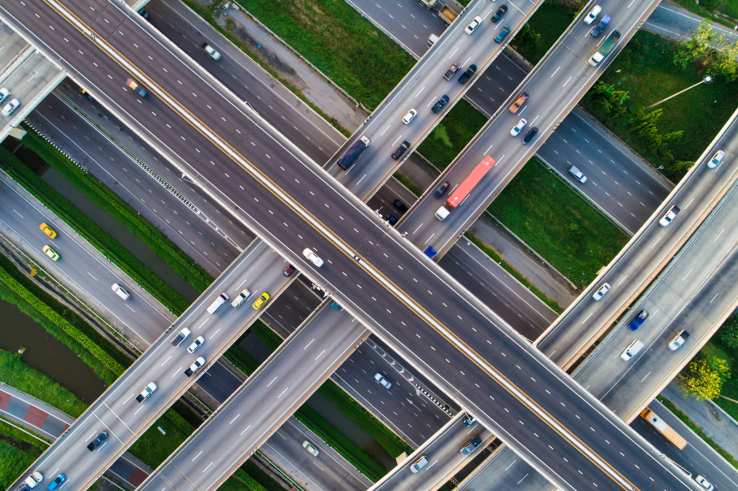 aerial view of roads