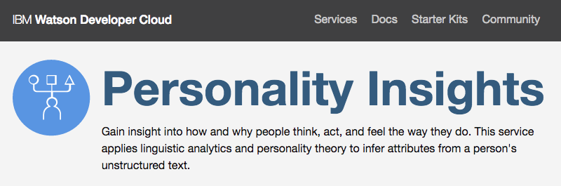 Click to try the IBM Watson Personality Insights demonstration