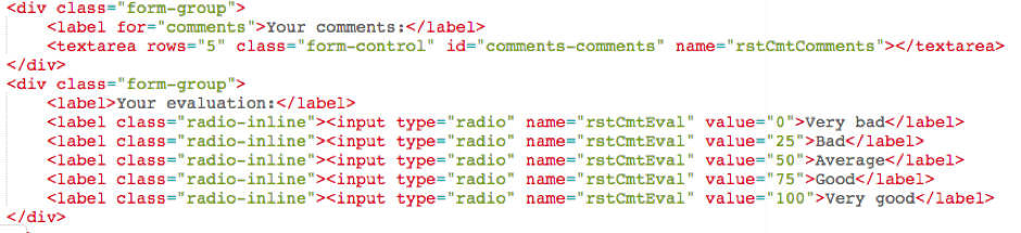 Example of Node HTML