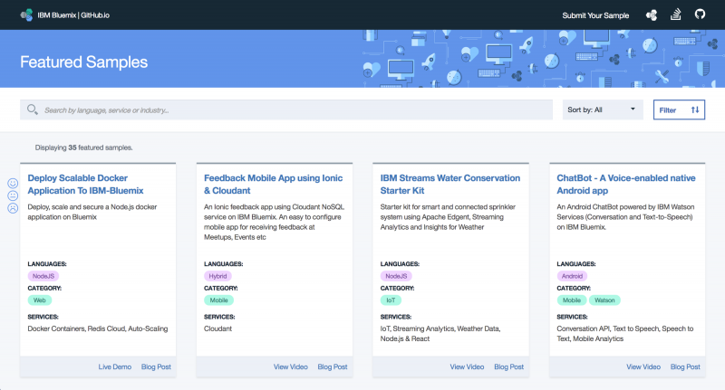 Featured code samples on new IBM Cloud GitHub repository - Archive