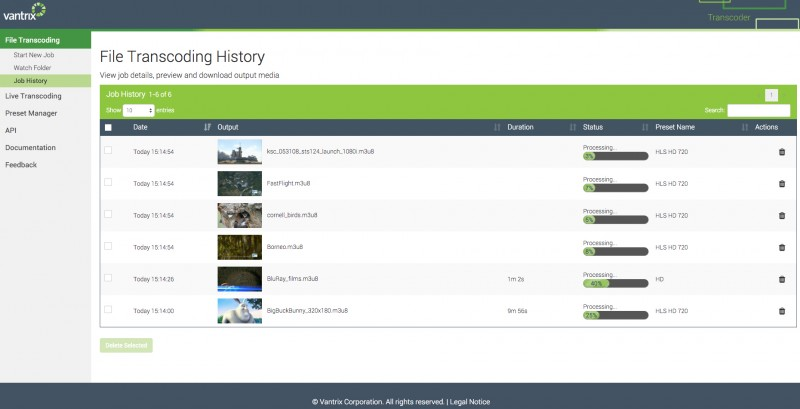 Screen shot of the Vantrix File Transcoding history window
