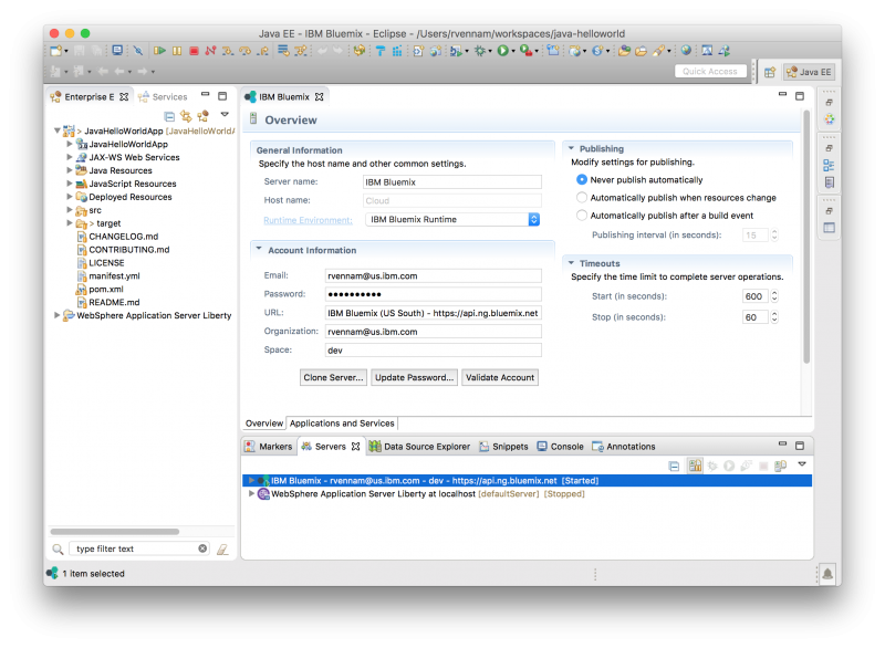 Deploy and manage Bluemix Java applications from IntelliJ - Archive