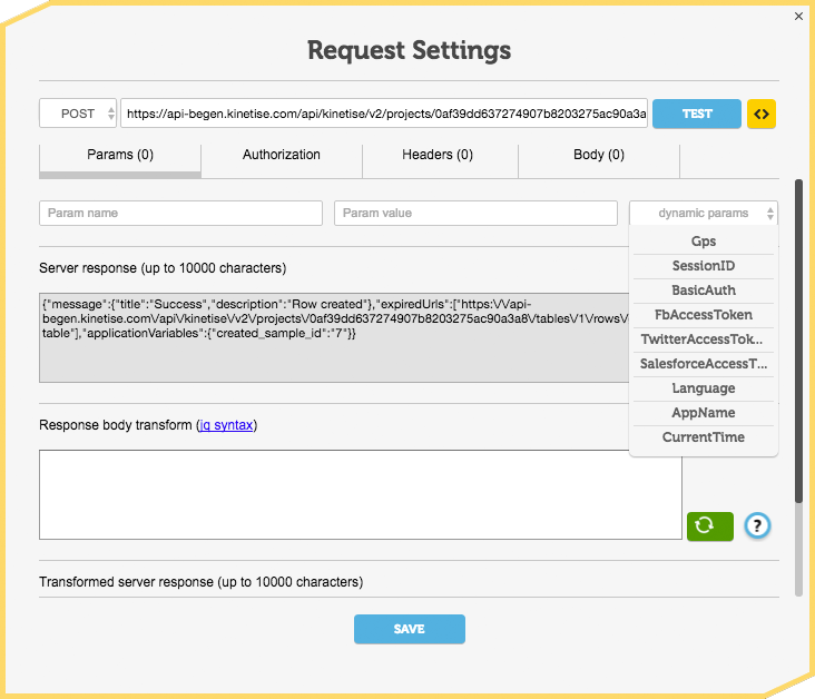 Screen shot of Request Settings screen from Kinetise