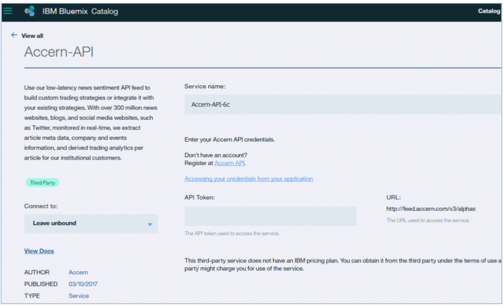 Screen shot of Accern tile in the Bluemix catalog
