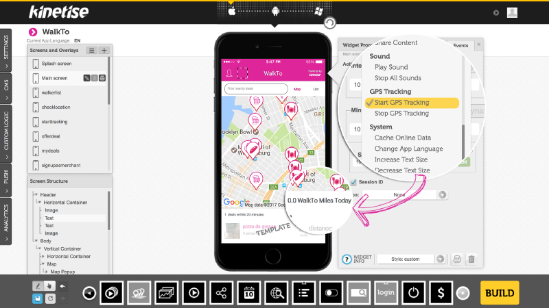 Example GPS app built with Kinetise