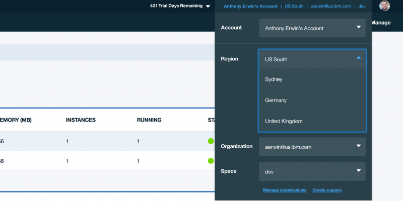 Region selector in the global Bluemix UI.