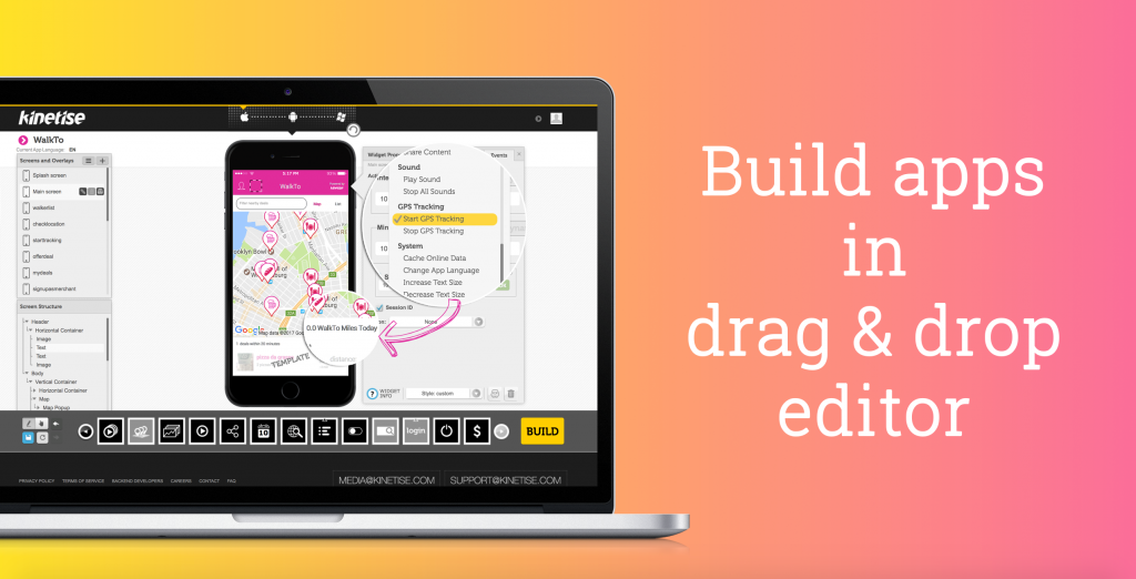 Kinetise: Build apps in drag & drop editor